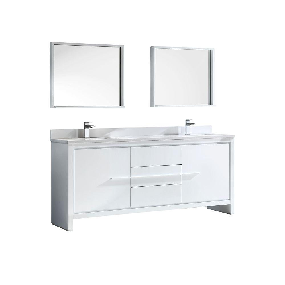 Fresca Allier 72 in. Double Vanity in White with Glass Stone Vanity Top in White and Mirror