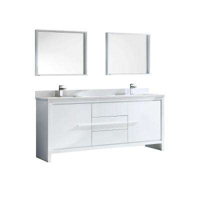 Allier 72 in. Double Vanity in White with Glass Stone Vanity Top in White and Mirror