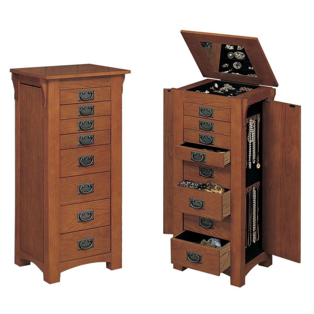 Powell Mission Oak Jewelry Armoire with Mirror-255 - The ...