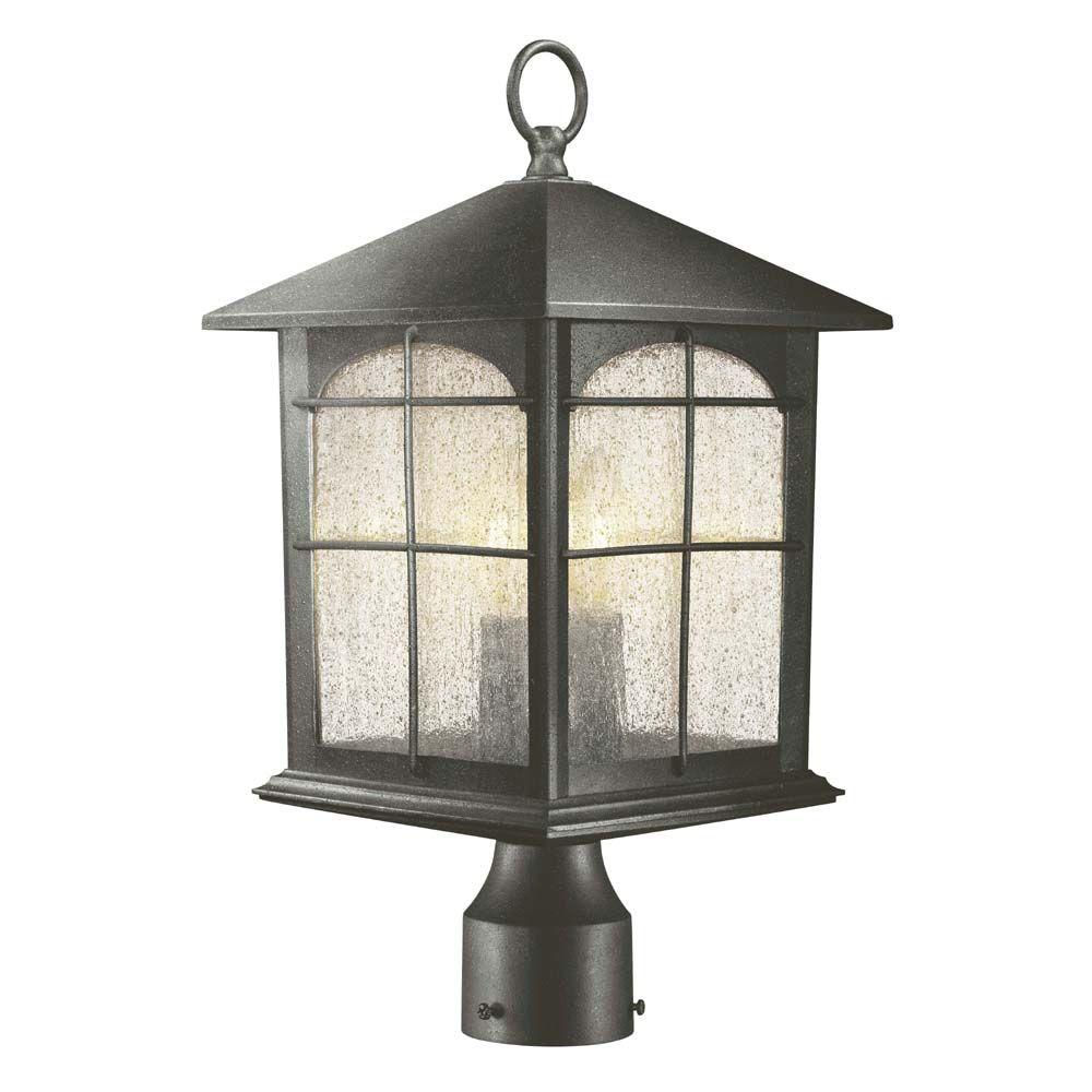 Outdoor Post Light Bulbs: Hampton Bay 3-Light Aged Iron Outdoor Post Lantern-Y37031
