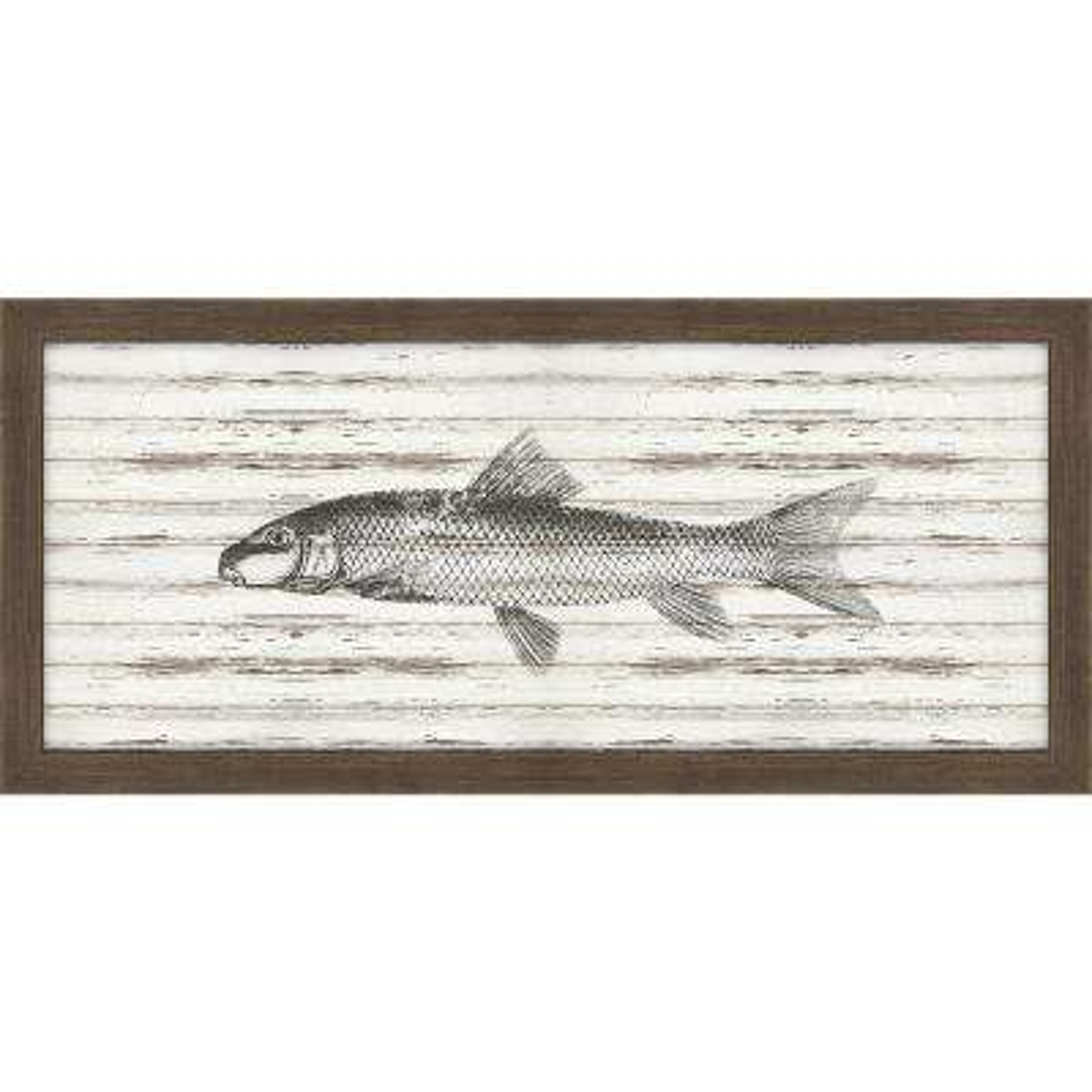 "22 in. x 10 in. ""Croaker on Driftwood"" Framed Giclee Print Wall Art"