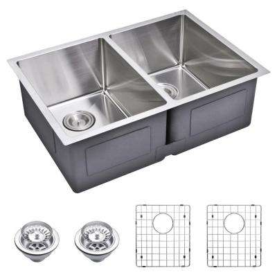 Undermount Small 27 in. 0-Hole Double Bowl Kitchen Sink with Strainer and Grid in Premium Scratch Resistant Satin Finish