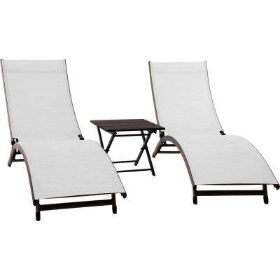 3-Piece Aluminum Adjustable Outdoor Chaise Lounge Set