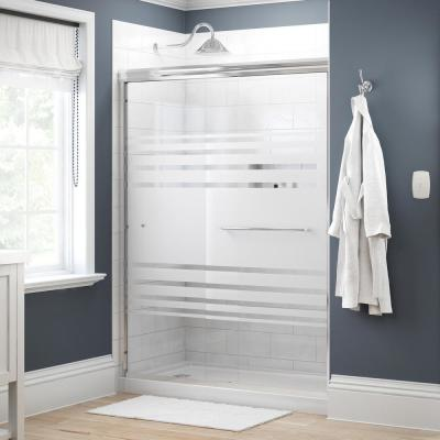 Simplicity 60 in. x 70 in. Semi-Frameless Traditional Sliding Shower Door in Chrome with Transition Glass