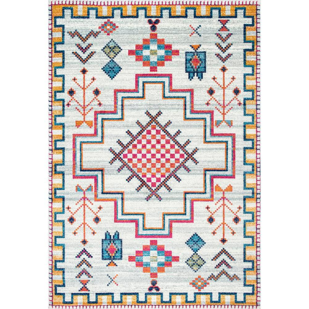 nuLOOM Richelle Tribal Medallion Silver 8 ft. x 10 ft. Area Rug