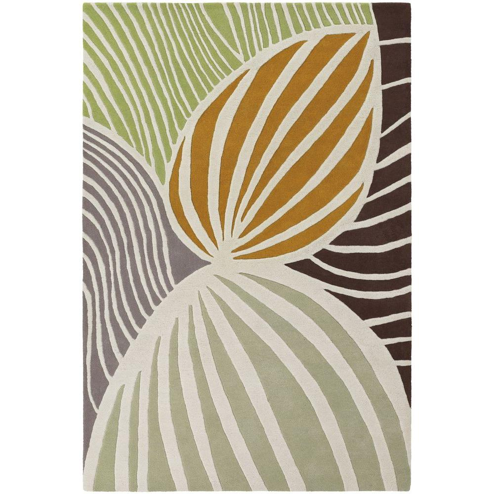 Inhabit White/Green/Orange/Grey/Brown 7 ft. 9 in. x 10 ft. 6 in.