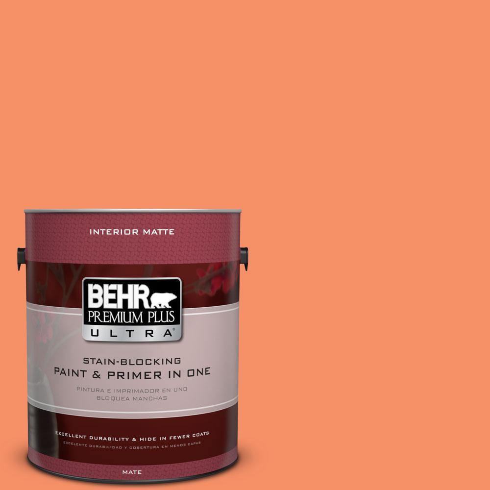 BEHR Premium Plus Ultra 1 gal. #210B-5 Tangerine Dream Flat/Matte Interior Paint