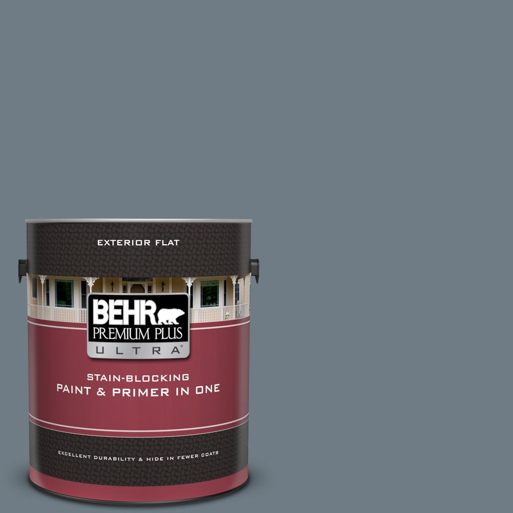 BEHR Premium Plus Ultra 1 gal. #PPF-38 Deep Shale Flat Exterior Paint and Primer in One