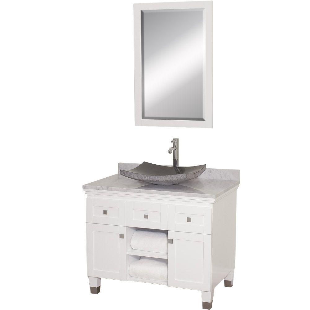Wyndham Collection Premiere 36 In Vanity White With Marble Top Carrara