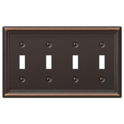 Ascher 4 Gang Toggle Steel Wall Plate - Aged Bronze