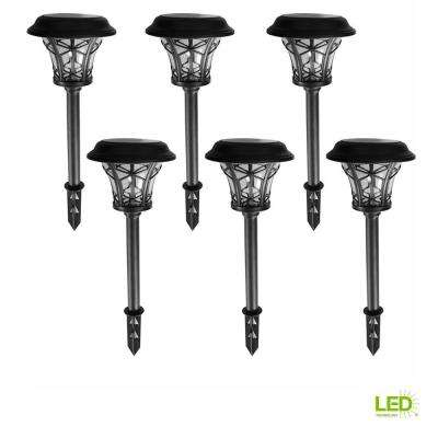 Solar Black Outdoor Integrated LED Landscape Path Light with Clear Glass Lens (6-Pack)