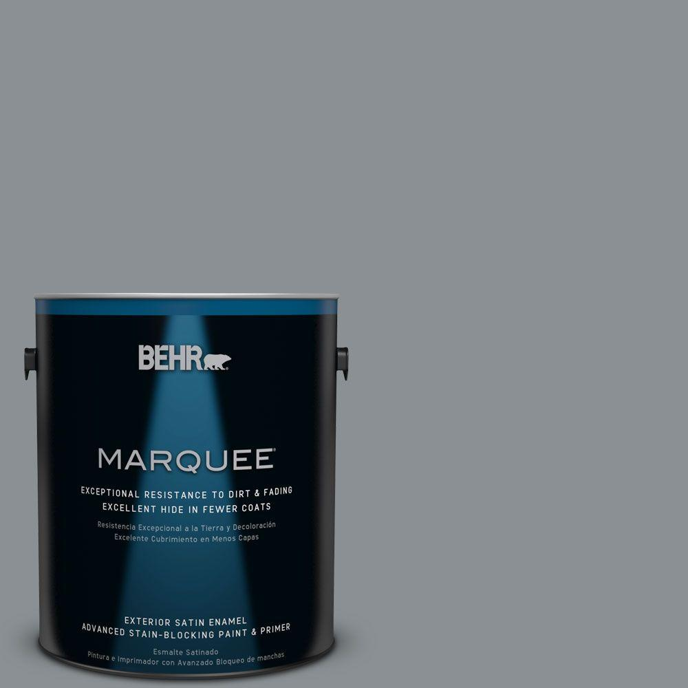 1 gal. #MQ5-29 Gotham Gray Satin Enamel Exterior Paint and Primer