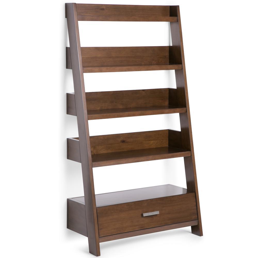 Deanna Natural Aged Brown Ladder Bookcase