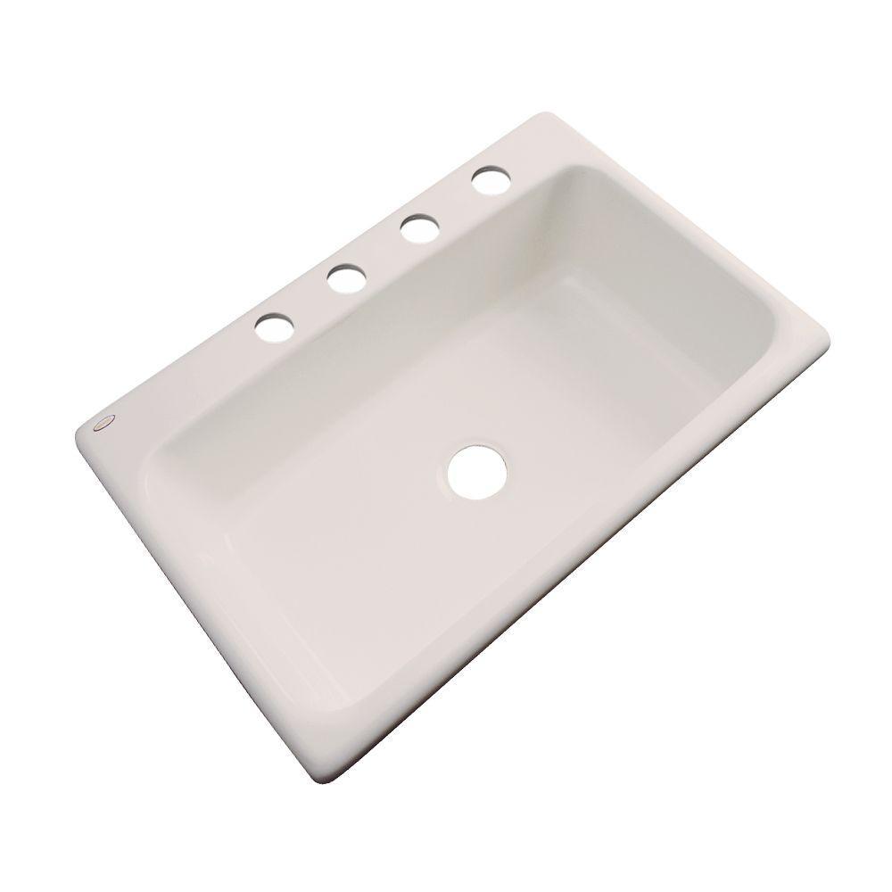 Manhattan Drop-In Acrylic 33 in. 4-Hole Single Bowl Kitchen Sink in Desert Bloom