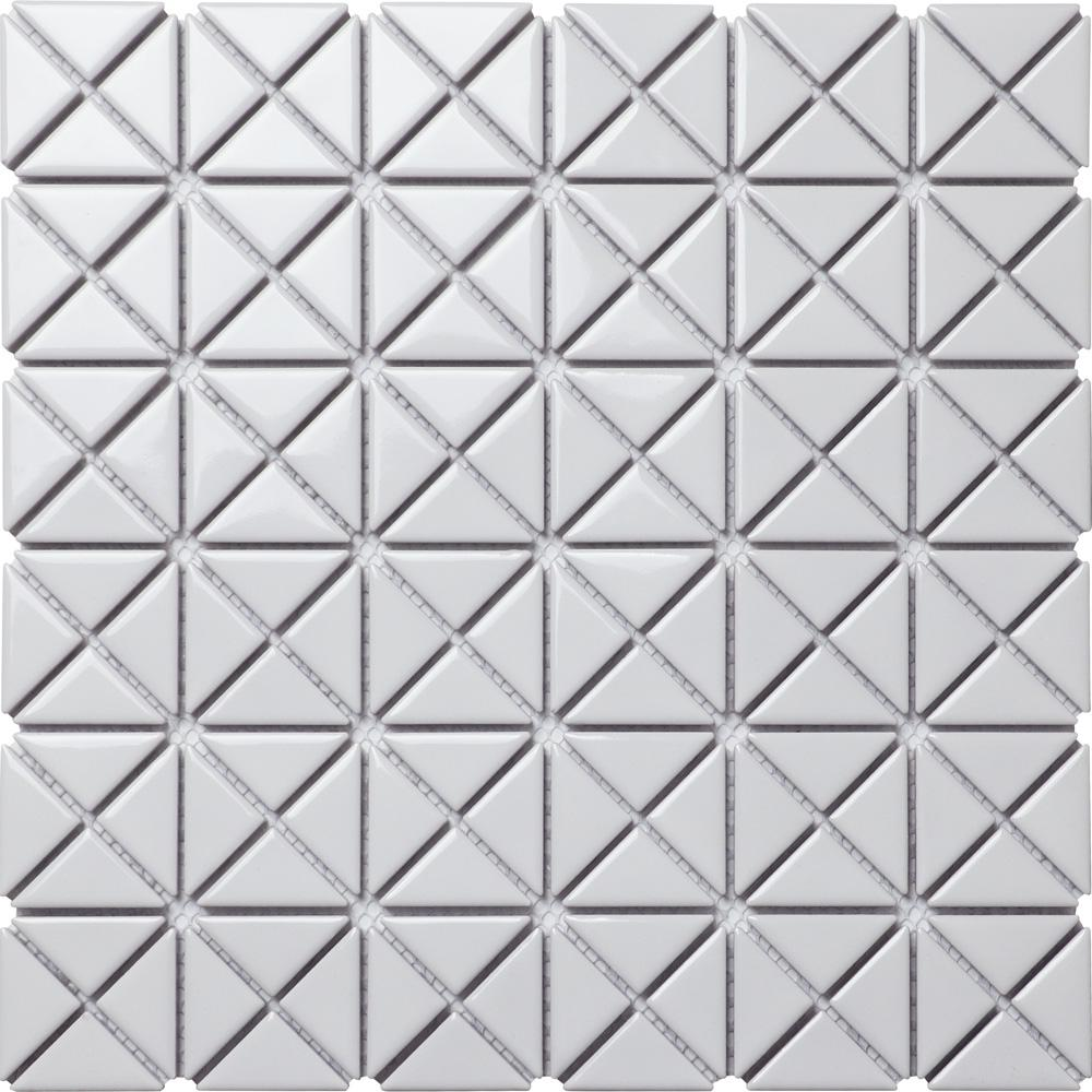 Merola Tile Tre Mini Crossover Glossy White 10-3/4 in. x 10-3/4 in. x 6 mm Porcelain Mosaic Tile (8.21 sq. ft. / case)