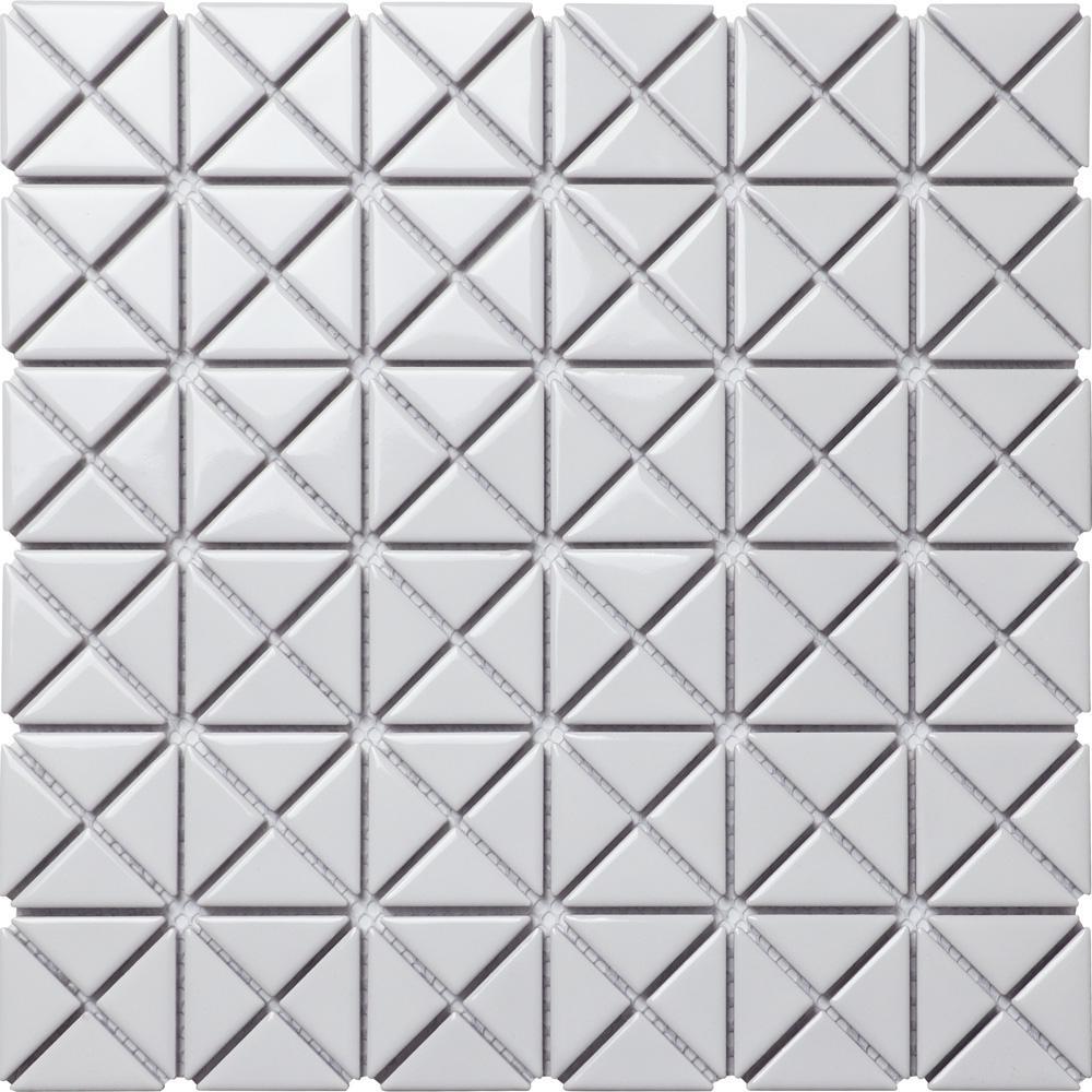 Tre Mini Crossover Glossy White 10-3/4 in. x 10-3/4 in. x
