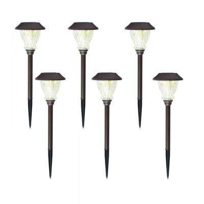 Solar Bronze Outdoor Integrated LED 3000K 10-Lumens Landscape Path Light with Crackle Glass (6-Pack)