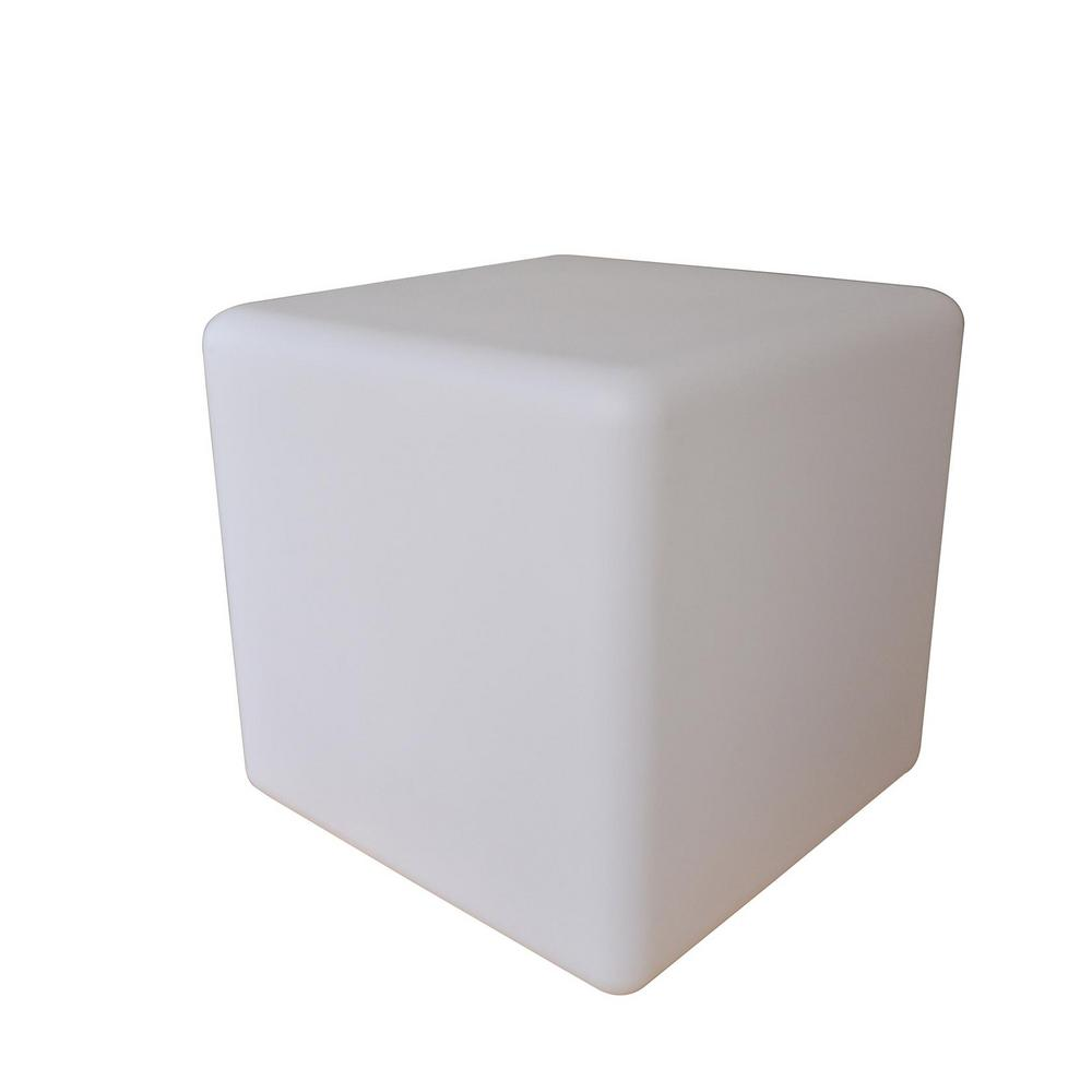 16 in. White Multicolor Outdoor Cube Lamp