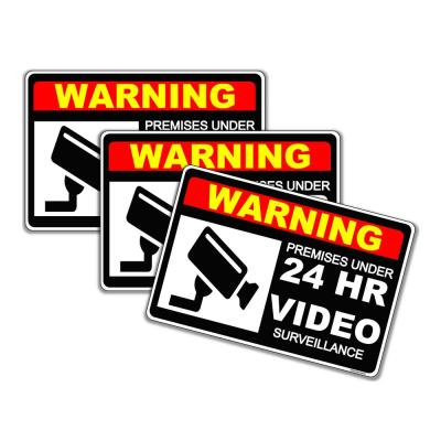 7 in. x 10 in. Warning 24 Hour Plastic Video Surveillance System Alarm (Pack of 3)