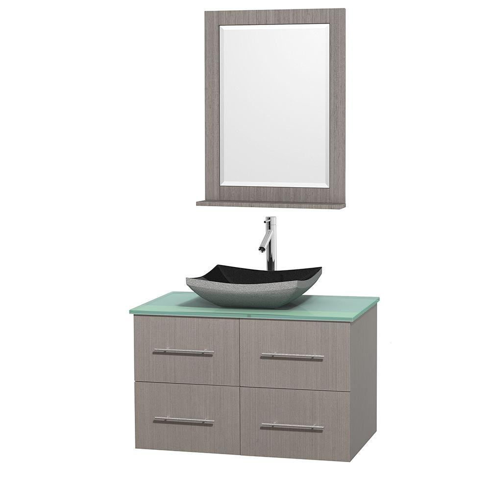 Wyndham Collection Centra 36 in. Vanity in Gray Oak with Glass Vanity Top in Green, Black Granite Sink and 24 in. Mirror