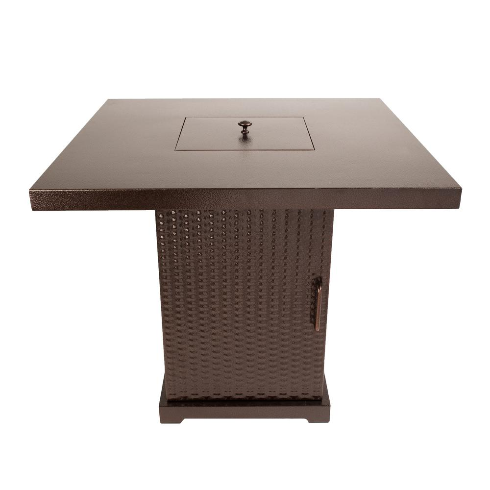 Pleasant Hearth Warren 30 in. x 27 in. Square Steel Propane Gas Fire Pit Table in Hammered Bronze with Glass Fire Rocks