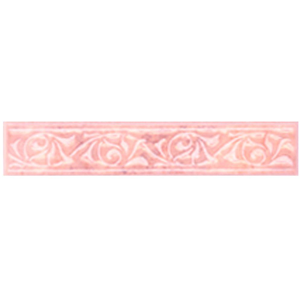 Merola Tile Joya Rosa 1 in. x 8 in. Ceramic Listello Trim Tile