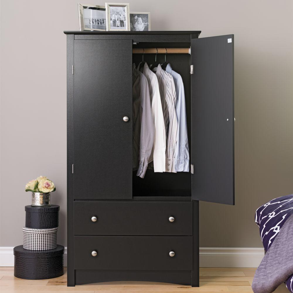 Awesome Prepac Sonoma Black Armoire