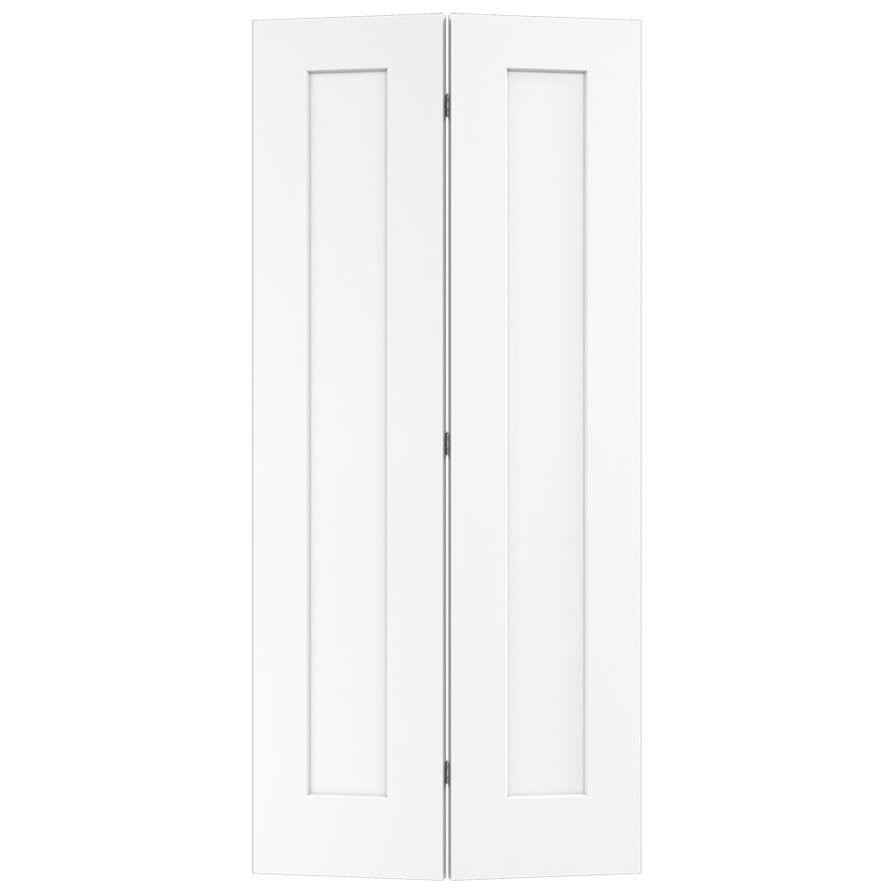 jeld wen 36 in x 80 in madison white painted smooth molded composite mdf closet bi fold door. Black Bedroom Furniture Sets. Home Design Ideas