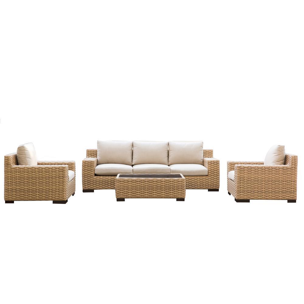 Patio Plus Cabana 4 Piece Wicker Outdoor Patio Conversation Seating Set With Beige Cushions