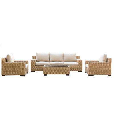Cabana 4-Piece Wicker Outdoor Patio Conversation Seating Set with Beige Cushions