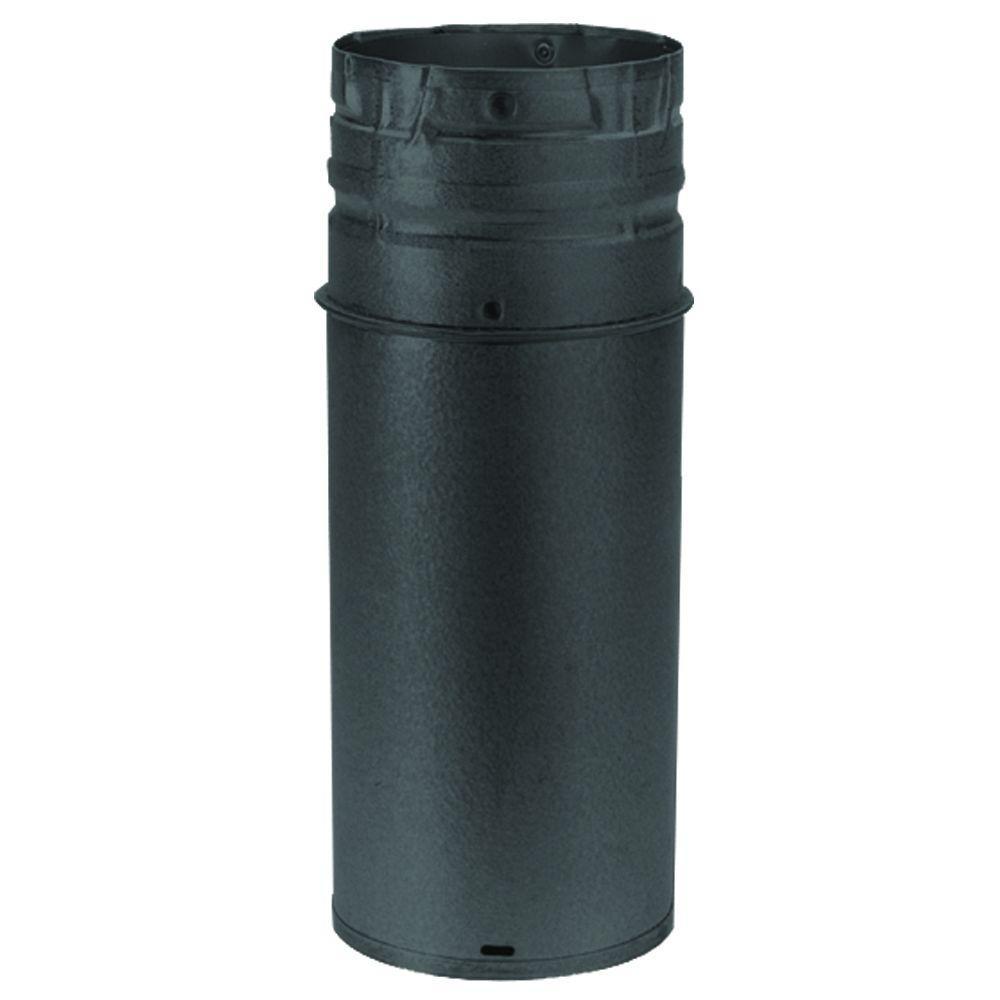 DuraVent PelletVent Multi-Fuel 3 in.-10 in. x 12 in. Adjustable Chimney Stove Pipe in Black