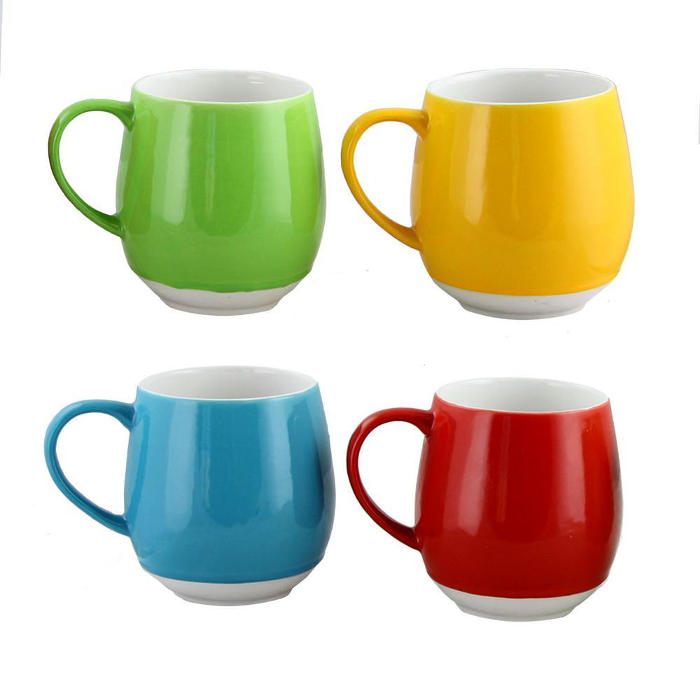 Noble Cafe 17 oz. Assorted Colors Stoneware Mugs (Set of 4)
