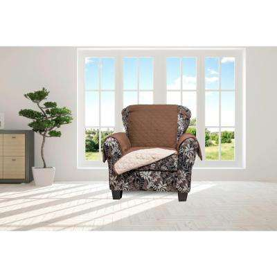 Jameson Chocolate and Natural Reversible Waterproof Microfiber Recliner Cover with Elastic Buckle