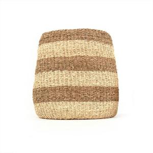 Concave Hand Woven Seagrass and Palm Leaf with Light and Dark Stripes Large Basket