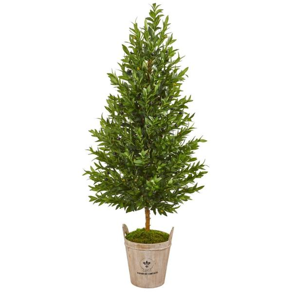 Indoor 5-Ft. Olive Cone Topiary Artificial Tree in Farmhouse Planter