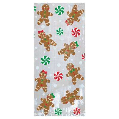 11.5 in. x 5 in. x 3.25 in. Christmas Gingerbread Cello Large Party Bag (20-Count 5-Pack)