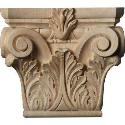 3-1/4 in. x 9-1/2 in. x 8-3/8 in. Unfinished Wood Maple Medium Floral Roman Corinthian Capital