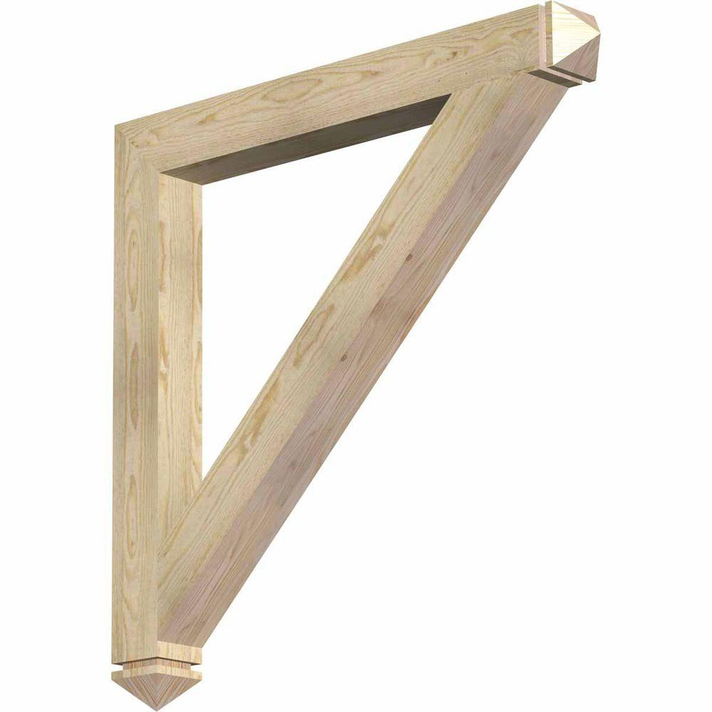 Ekena Millwork 4 in. x 38 in. x 38 in. Douglas Fir Traditional Arts and Crafts Rough Sawn Bracket