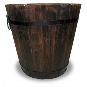 12 in. Dia Dark Flame Wood Bucket