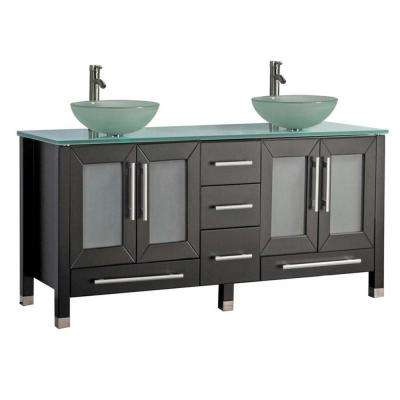Caen 61 in. W x 20 in. D x 36 in. H Vanity in Espresso with Glass Vanity Top in Glass with Glass Basin