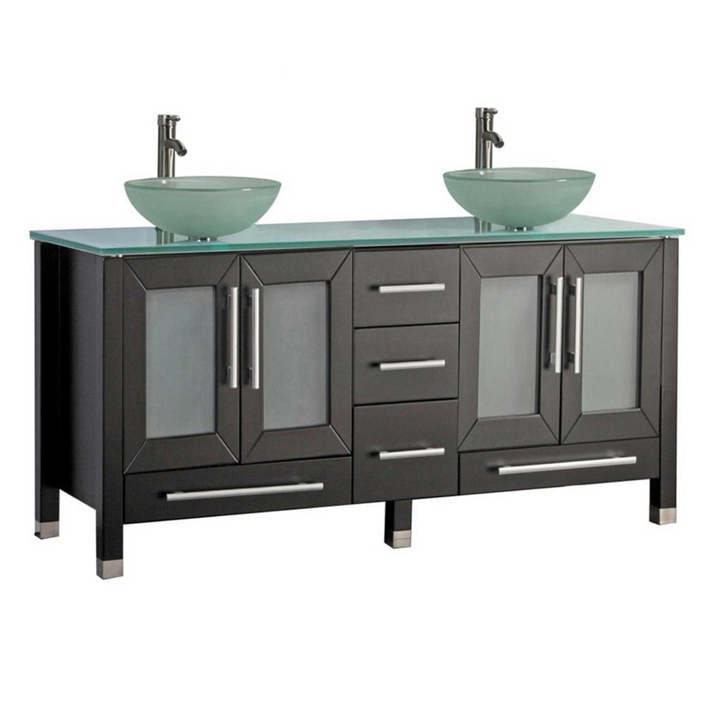 Caen 61 in. W x 20 in. D x 36 in. H Vanity in Espresso with Glass Vanity Top in Glass with Glass Basin