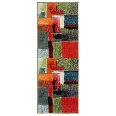 Rainbow Collection Abstract Squares Design Multi 2 ft. x 6 ft. Runner Rug
