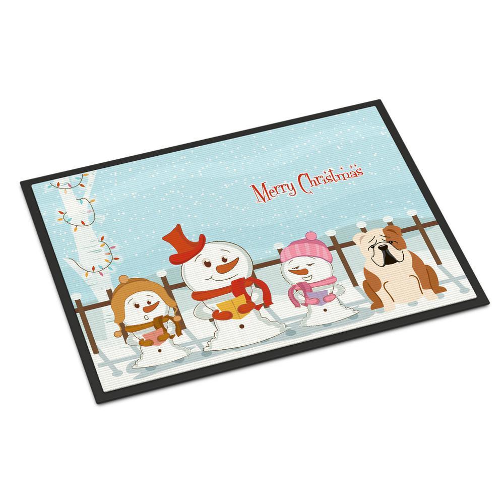 18 in. x 27 in. Indoor/Outdoor Merry Christmas Carolers English Bulldog Fawn White Door Mat