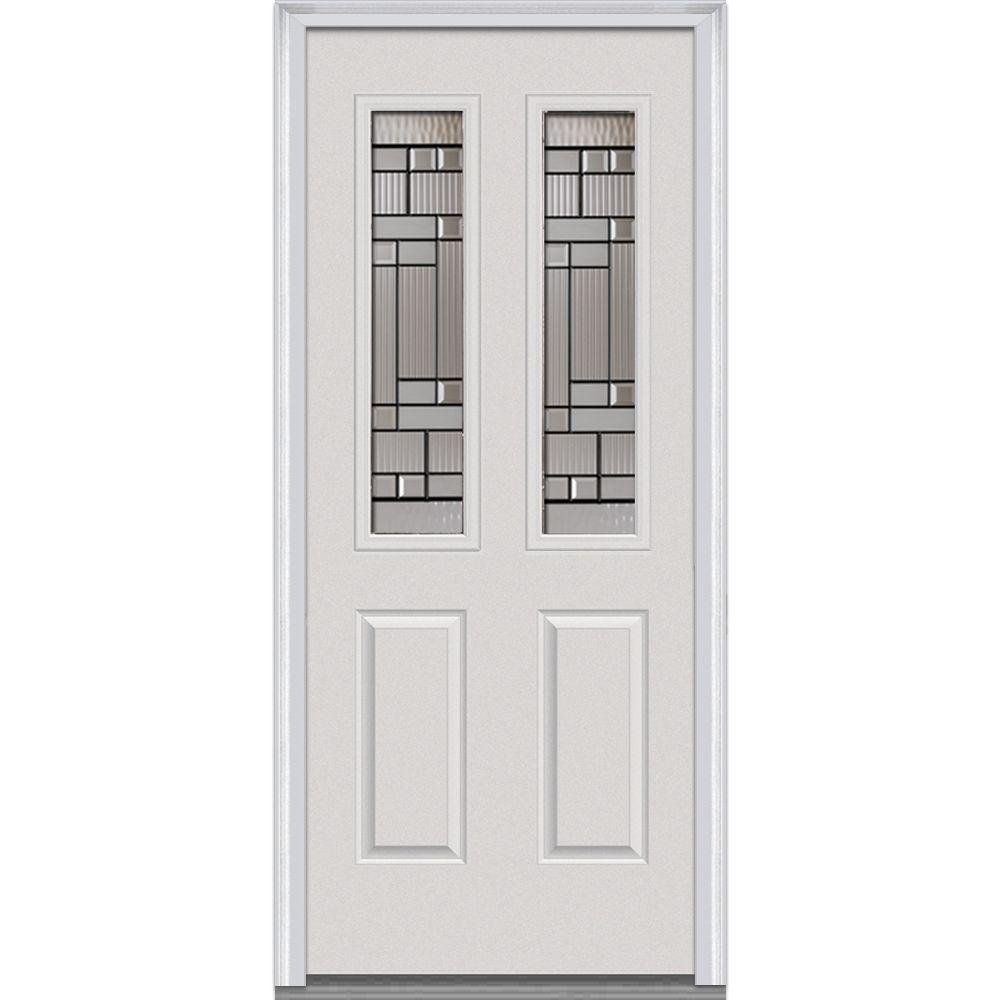 Mmi Door 30 In X 80 In Kensington Left Hand 2 1 2 Lite 2 Panel Classic Primed Fiberglass