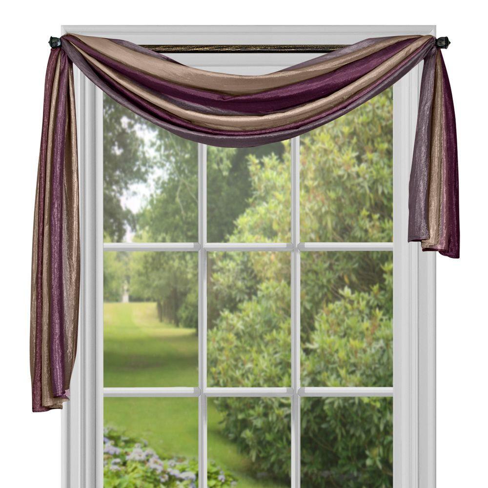 Semi-Opaque Ombre Aubergine Polyester Scarf Curtain - 50 in. W x 144 in. L