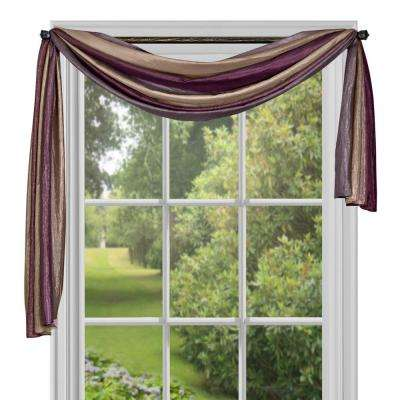 Semi-Opaque Ombre Aubergine Polyester Scarf Curtain - 50 in. W x 144 in. L