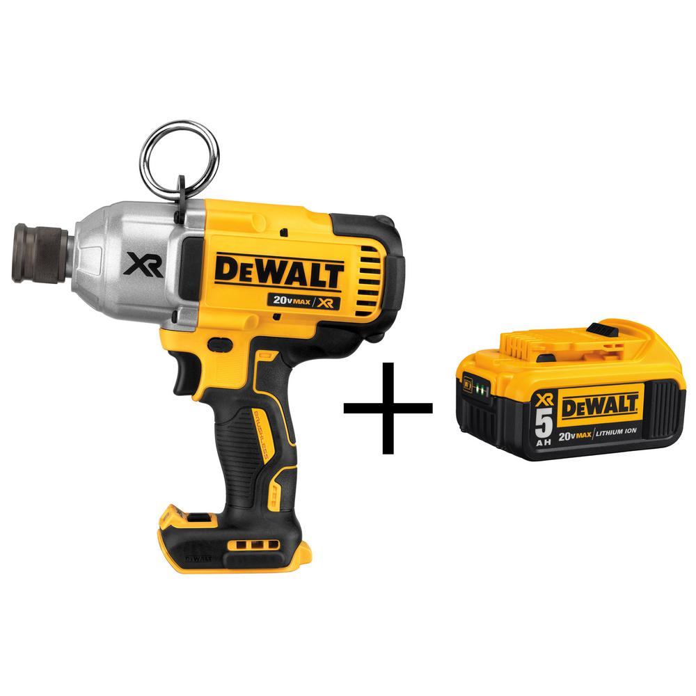 DEWALT 20-Volt MAX XR Lithium-Ion Cordless Brushless 7/16 in. Impact Wrench with Quick Release Chuck and Free Battery Pack 5Ah