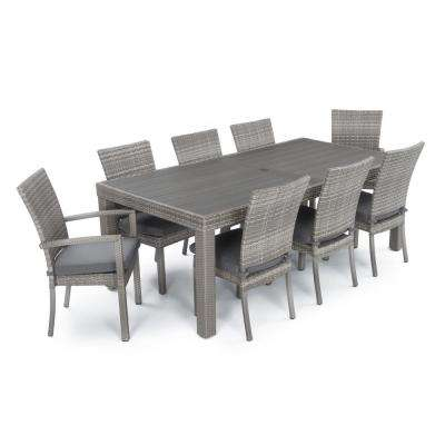 Cannes 9-Piece Patio Woven Dining Set with Charcoal Grey Cushions