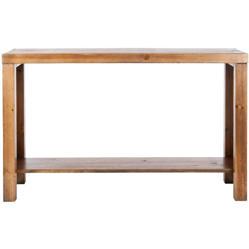 Safavieh lahoma brown pine console table amh6541a the home depot geotapseo Gallery