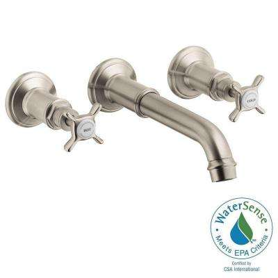 Axor Montreux 2-Handle Wall Mount Bathroom Faucet in Brushed Nickel